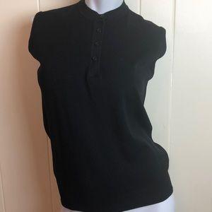 Vtg 70s/80s Black Sleeveless Henley Sweater Vest